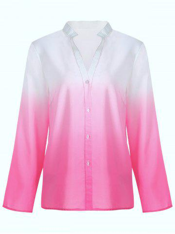 Long Sleeve Button Up Ombre Blouse - Red - S