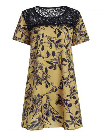 Plus Size Lace Openwork Mini Floral Chiffon Dress - Yellow - 5xl