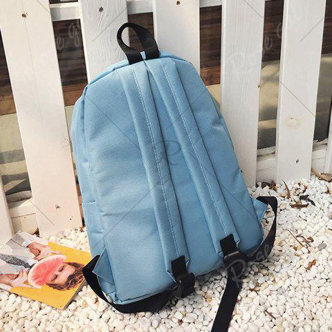 Sale Graphic Printed Nylon Backpack - BLUE  Mobile