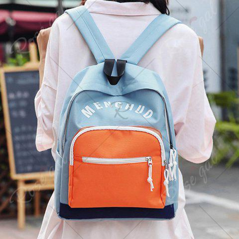 Hot Graphic Printed Nylon Backpack - BLUE  Mobile