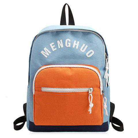 Affordable Graphic Printed Nylon Backpack BLUE