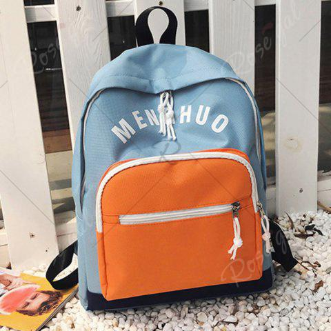 Fashion Graphic Printed Nylon Backpack - BLUE  Mobile