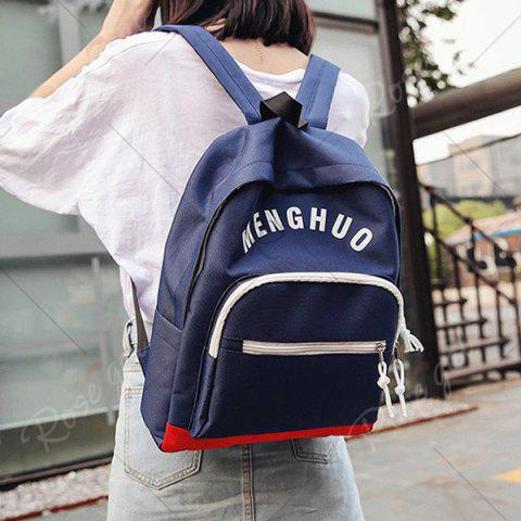 Unique Graphic Printed Nylon Backpack - DEEP BLUE  Mobile