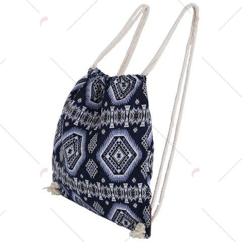 Outfit Drawstring Ethnic Print Backpack - BLUE  Mobile