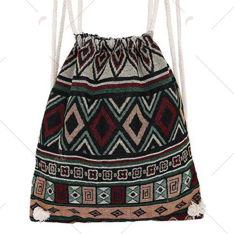 Fancy Drawstring Ethnic Print Backpack - WINE RED  Mobile