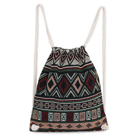 Unique Drawstring Ethnic Print Backpack - WINE RED  Mobile