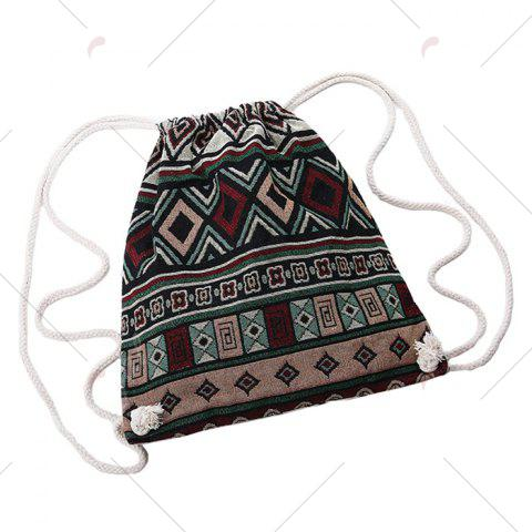 Outfit Drawstring Ethnic Print Backpack - WINE RED  Mobile