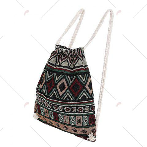 Fashion Drawstring Ethnic Print Backpack - WINE RED  Mobile
