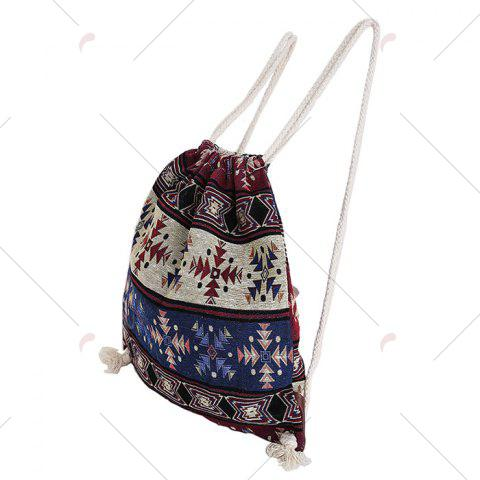 Outfit Drawstring Ethnic Print Backpack - COLORMIX  Mobile