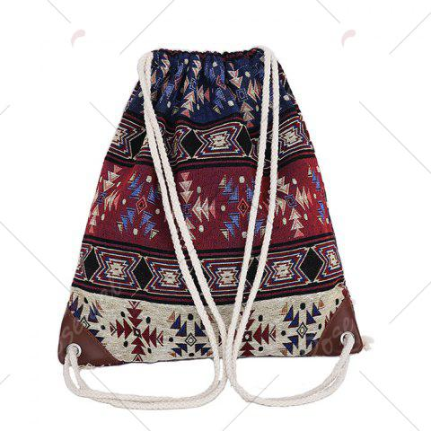 Fancy Drawstring Ethnic Print Backpack - COLORMIX  Mobile