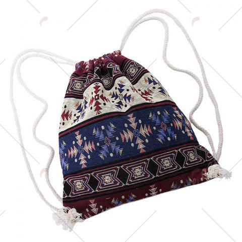 Trendy Drawstring Ethnic Print Backpack - COLORMIX  Mobile