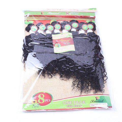 Fancy 8PCS Caribbean Jerry Curly Human Hair Mixed Synthetic Fiber Hair Wefts - BLACK  Mobile