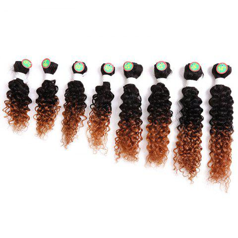 Best 8PCS Caribbean Jerry Curly Human Hair Mixed Synthetic Fiber Hair Wefts BROWN