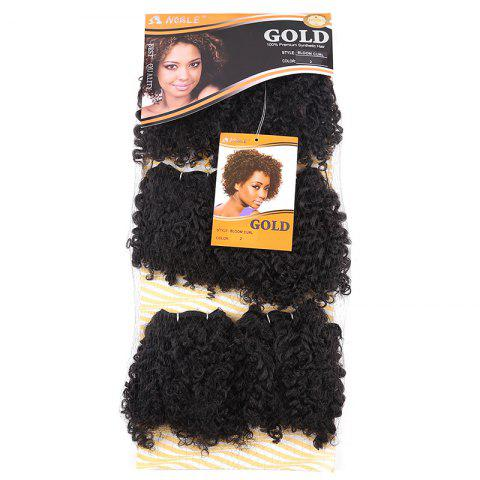 6PCS Short Fluffy Colormix Bloom Afro Curly Synthetic Hair Wefts Noir