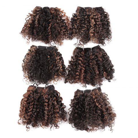 Outfit 6PCS Short Fluffy Colormix Bloom Afro Curly Synthetic Hair Wefts - LIGHT BROWN  Mobile