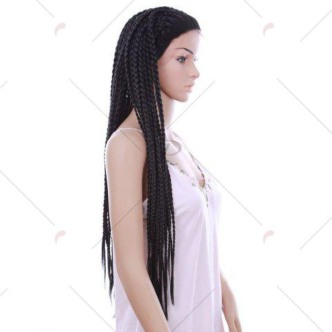 Buy Long Three Strand Box Braided Synthetic Lace Front Wig - NATURAL BLACK  Mobile