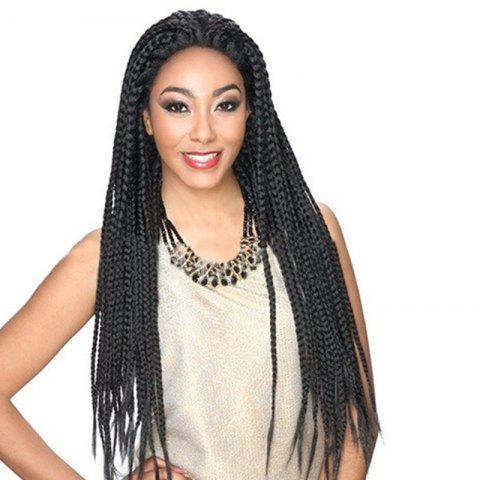 Cheap Long Three Strand Box Braided Synthetic Lace Front Wig - NATURAL BLACK  Mobile