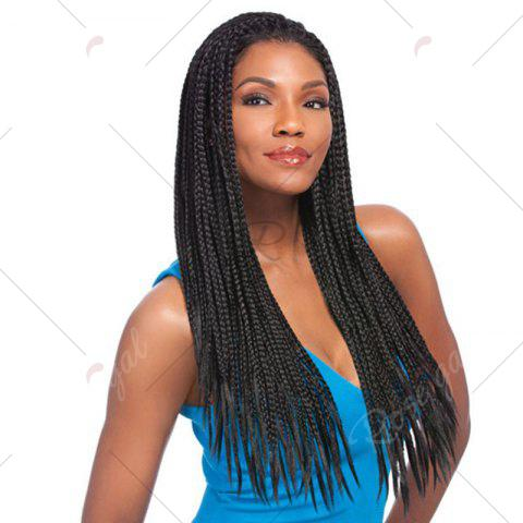 Outfits Long Three Strand Box Braided Synthetic Lace Front Wig - NATURAL BLACK  Mobile
