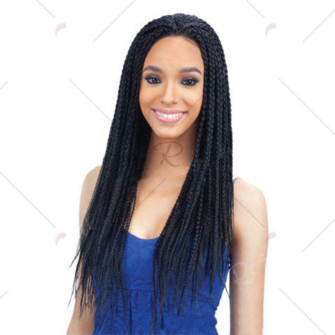 New Long Three Strand Box Braided Synthetic Lace Front Wig - NATURAL BLACK  Mobile
