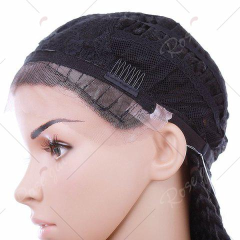 Discount Long Three Strand Box Braided Synthetic Lace Front Wig - NATURAL BLACK  Mobile