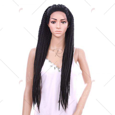Store Long Three Strand Box Braided Synthetic Lace Front Wig - NATURAL BLACK  Mobile