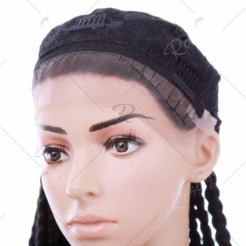 Fashion Long Three Strand Box Braided Synthetic Lace Front Wig - NATURAL BLACK  Mobile