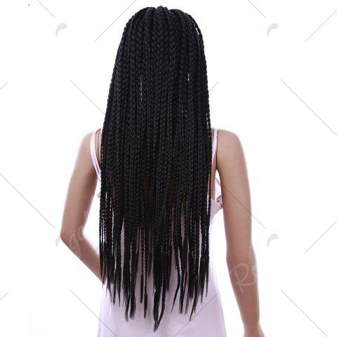 Unique Long Three Strand Box Braided Synthetic Lace Front Wig - NATURAL BLACK  Mobile