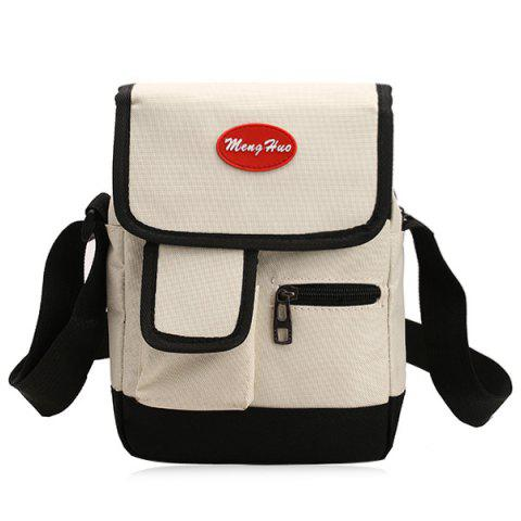 Outfits Nylon Front Pockets Crossbody Bag - OFF-WHITE  Mobile