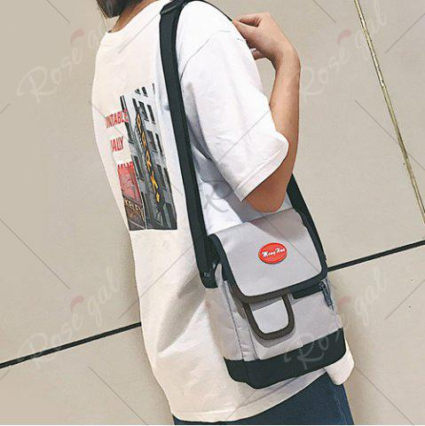 Trendy Nylon Front Pockets Crossbody Bag - GRAY  Mobile