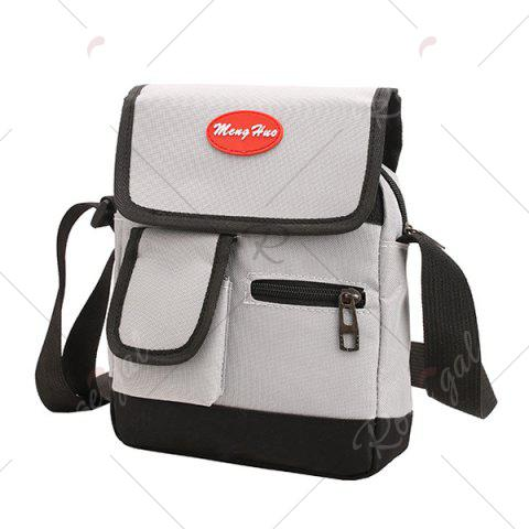 Buy Nylon Front Pockets Crossbody Bag - GRAY  Mobile