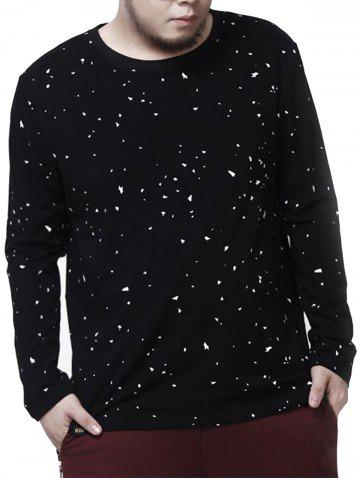 Sale Plus Size Crew Neck Paint Splatter Tee - 7XL BLACK Mobile