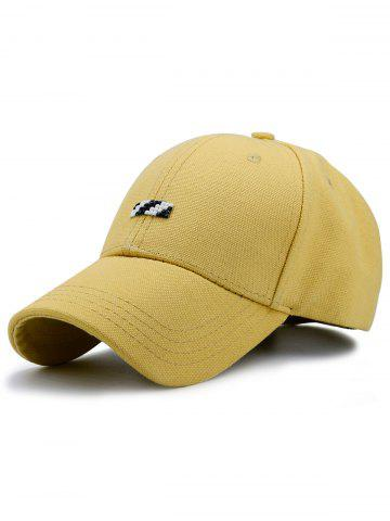 Tiny Rectangle Embellished Baseball Cap Jaune
