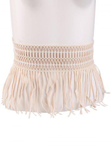 New Snap Button Fringed Woven Elastic Corset Belt - YELLOWISH PINK  Mobile