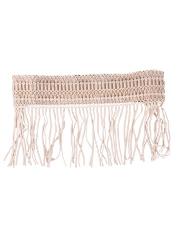 Store Snap Button Fringed Woven Elastic Corset Belt - YELLOWISH PINK  Mobile