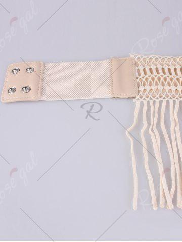 Online Snap Button Fringed Woven Elastic Corset Belt - YELLOWISH PINK  Mobile