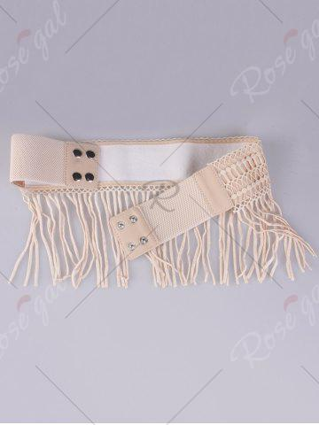 Sale Snap Button Fringed Woven Elastic Corset Belt - YELLOWISH PINK  Mobile