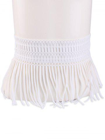 Store Snap Button Fringed Woven Elastic Corset Belt WHITE