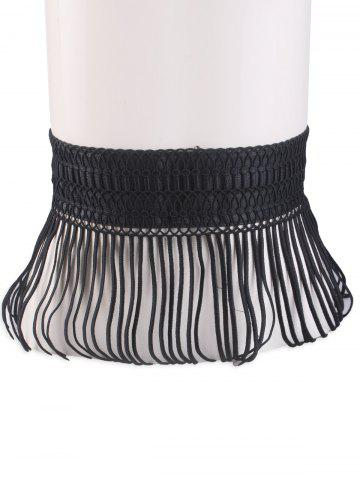Snap Button Fringed Woven Elastic Corset Belt - Black