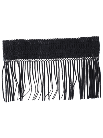Sale Snap Button Fringed Woven Elastic Corset Belt - BLACK  Mobile