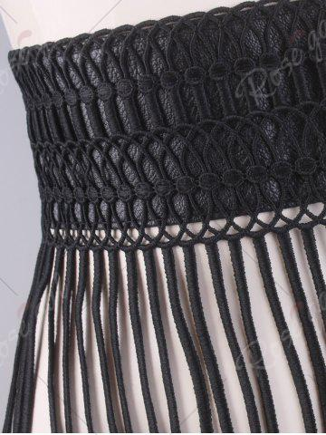 Latest Snap Button Fringed Woven Elastic Corset Belt - BLACK  Mobile