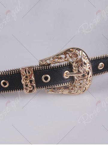 Outfits Engraved Vintage Pin Buckle Faux Leather Belt - GOLDEN  Mobile