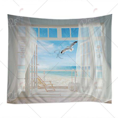 Sale Balcony Beach Print Tapestry Wall Hanging Art Decoration - W79 INCH * L59 INCH WHITE Mobile