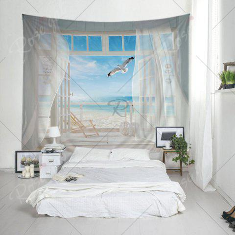 Hot Balcony Beach Print Tapestry Wall Hanging Art Decoration - W79 INCH * L59 INCH WHITE Mobile