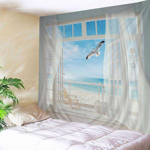 Balcony Beach Print Tapestry Wall Hanging Art Decoration - White - W79 Inch * L59 Inch