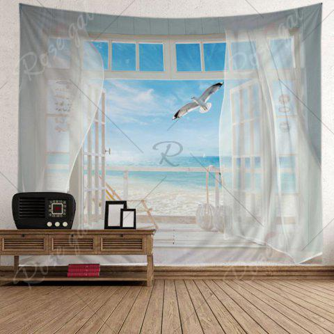 Fashion Balcony Beach Print Tapestry Wall Hanging Art Decoration - W79 INCH * L59 INCH WHITE Mobile