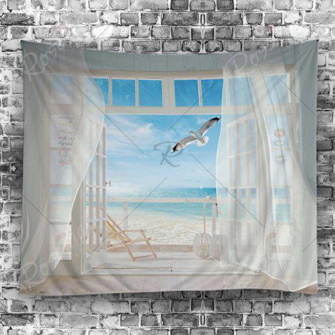 Cheap Balcony Beach Print Tapestry Wall Hanging Art Decoration - W79 INCH * L59 INCH WHITE Mobile