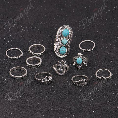 Trendy Faux Turquoise Floral Fly Eagle Ring Set - SILVER  Mobile