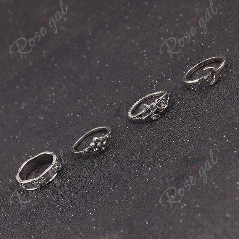Discount Faux Turquoise Moon Sun Flower Ring Set - SILVER  Mobile