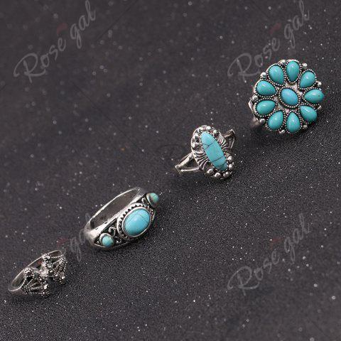 Sale Faux Turquoise Moon Sun Flower Ring Set - SILVER  Mobile