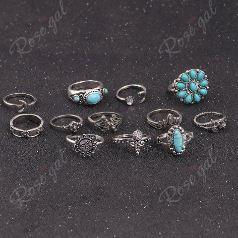 Cheap Faux Turquoise Moon Sun Flower Ring Set - SILVER  Mobile